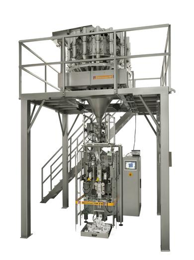 Combination weigher CP-16-S32 in combination with the vertical form, fill and seal machine RM-270