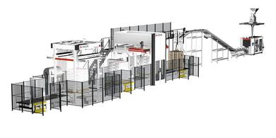 The new complete W&H FFS bagging line consisting of TOPAS SL bagging machine, PLATINUM layer palletizer and ARGON stretch hood  machine.